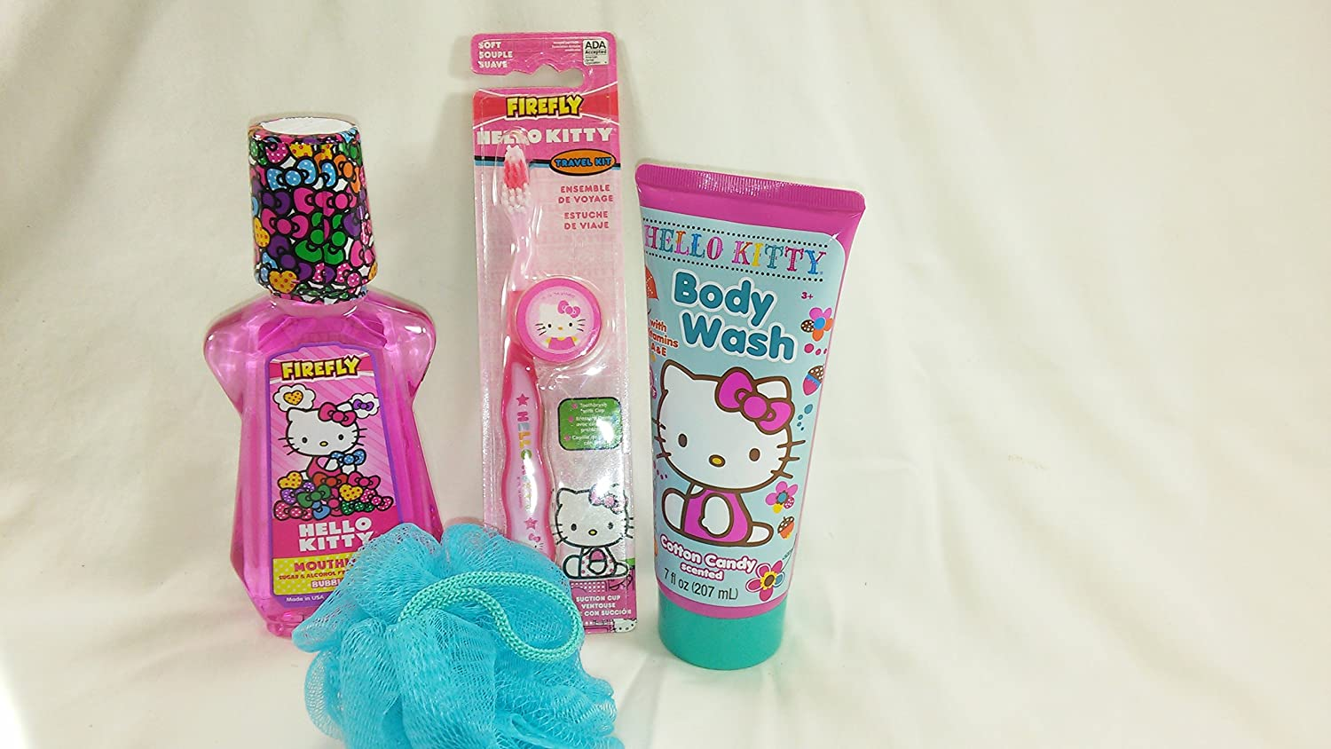 Amazon.com: Hello Kitty 4pc Bundle Gift Set Mouth Wash, Toothbrush, Body Wash & Puff: Health & Personal Care