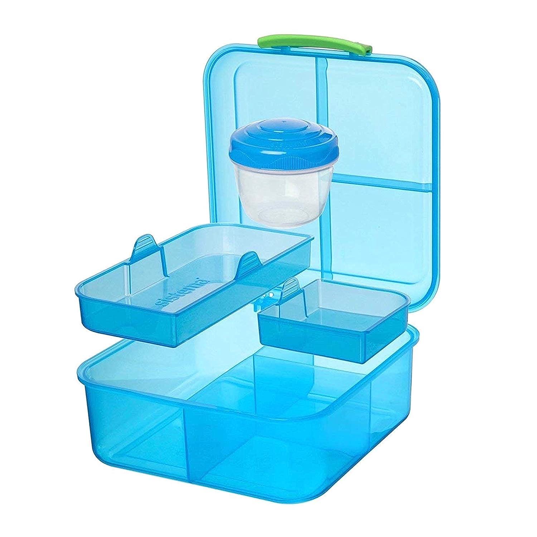 Sistema Bento Cube Box para ir con frutas//yogur olla claro//azul 1.25/L