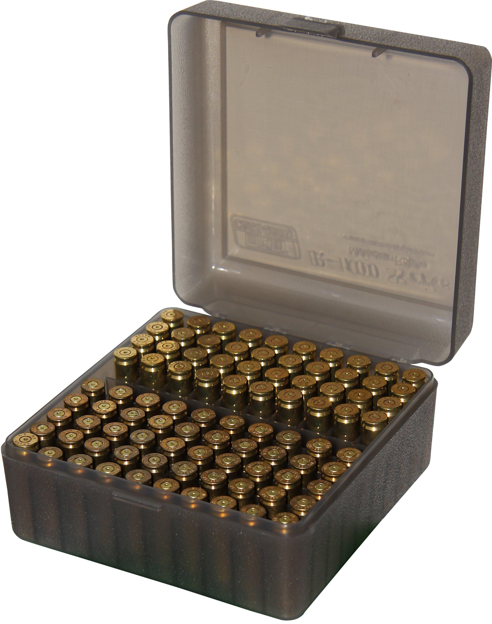 MTM 100 Round Flip-Top Rifle Ammo Box, Medium, Clear Smoke