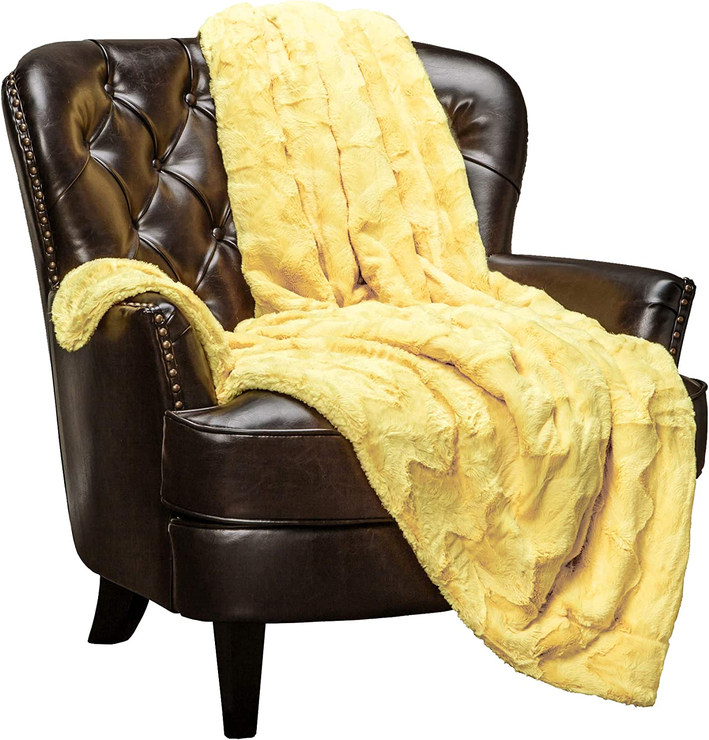 "Chanasya Fur Throw Blanket for Bed Couch Chair Daybed - Soft Wave Embossed Pattern - Warm Elegant Cozy Fuzzy Fluffy Faux Fur Plush Suitable for Fall Winter Summer Spring (50"" x 65"") - Yellow Blanket"