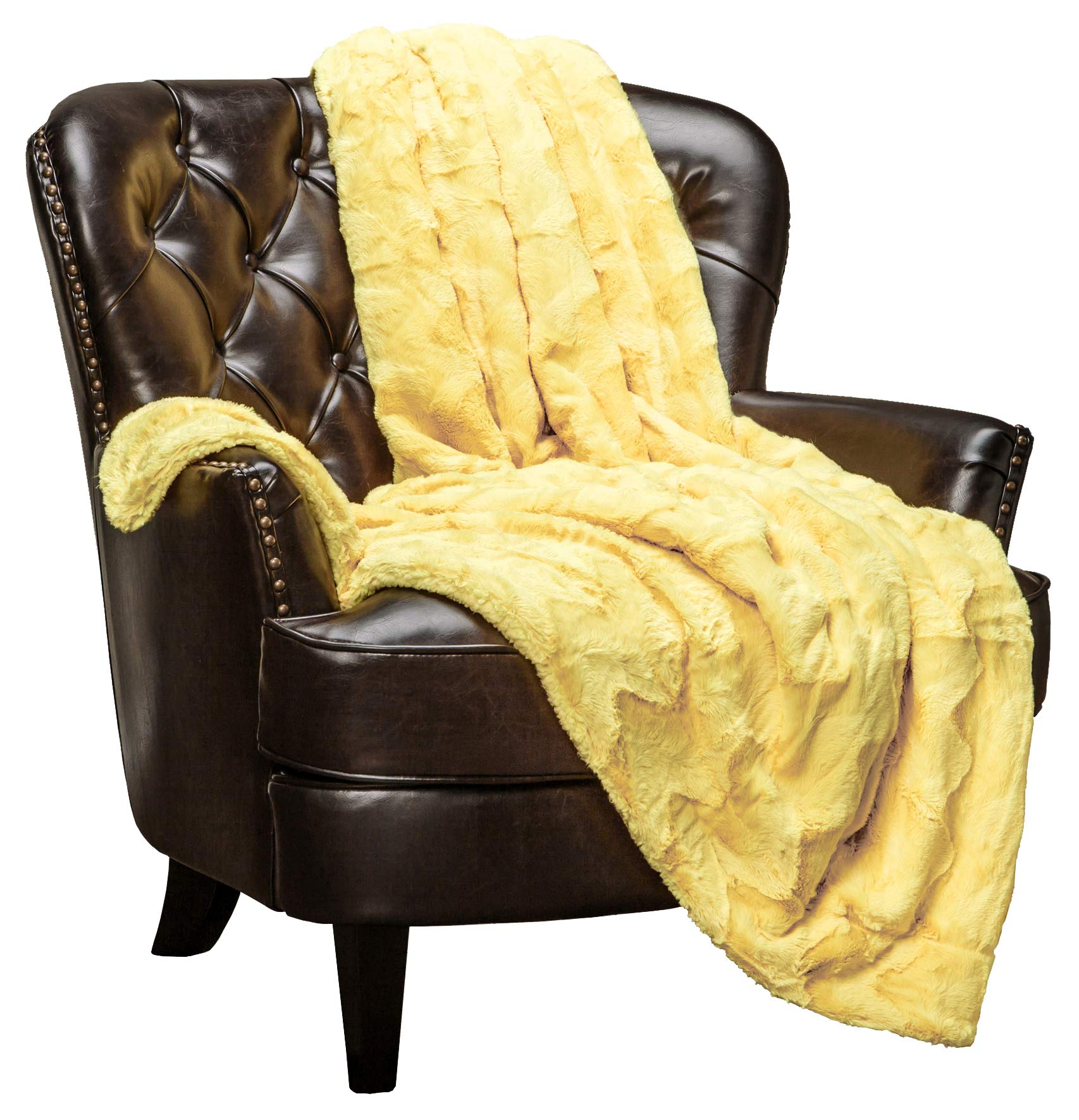 Chanasya Fur Throw Blanket for Bed Couch Chair Daybed - Soft Wave Embossed Pattern - Warm Elegant Cozy Fuzzy Fluffy Faux Fur Plush Suitable for Fall Winter Summer Spring (50'' x 65'') - Yellow Blanket