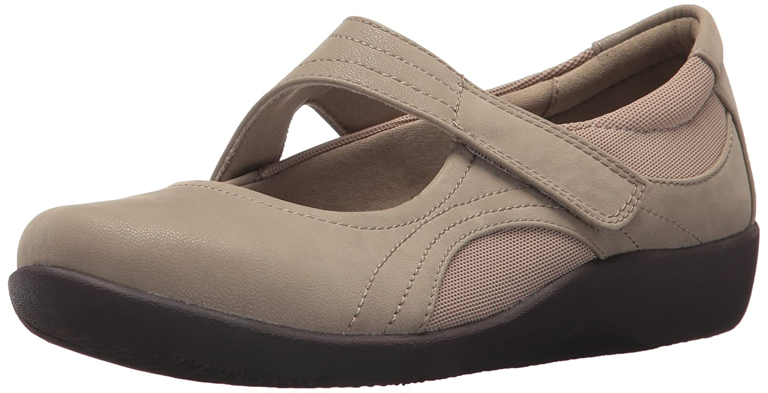 CLARKS Women's Sillian Bella Mary Jane Flat B074KHNWKP 8 M US|Sand Synthetic Nubuck