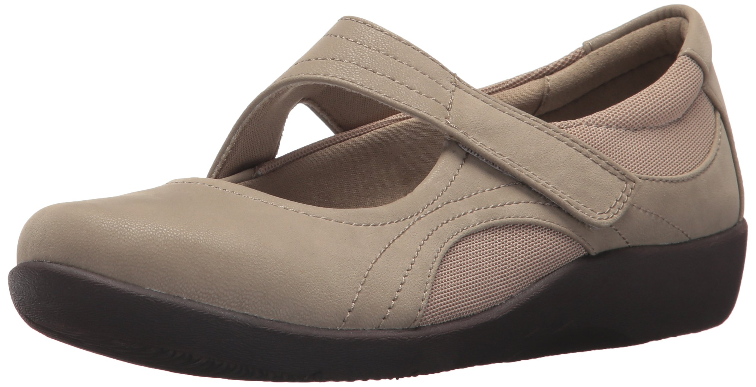 CLARKS Women's Sillian Bella Mary Jane Flat, sand synthetic nubuck, 7 M US