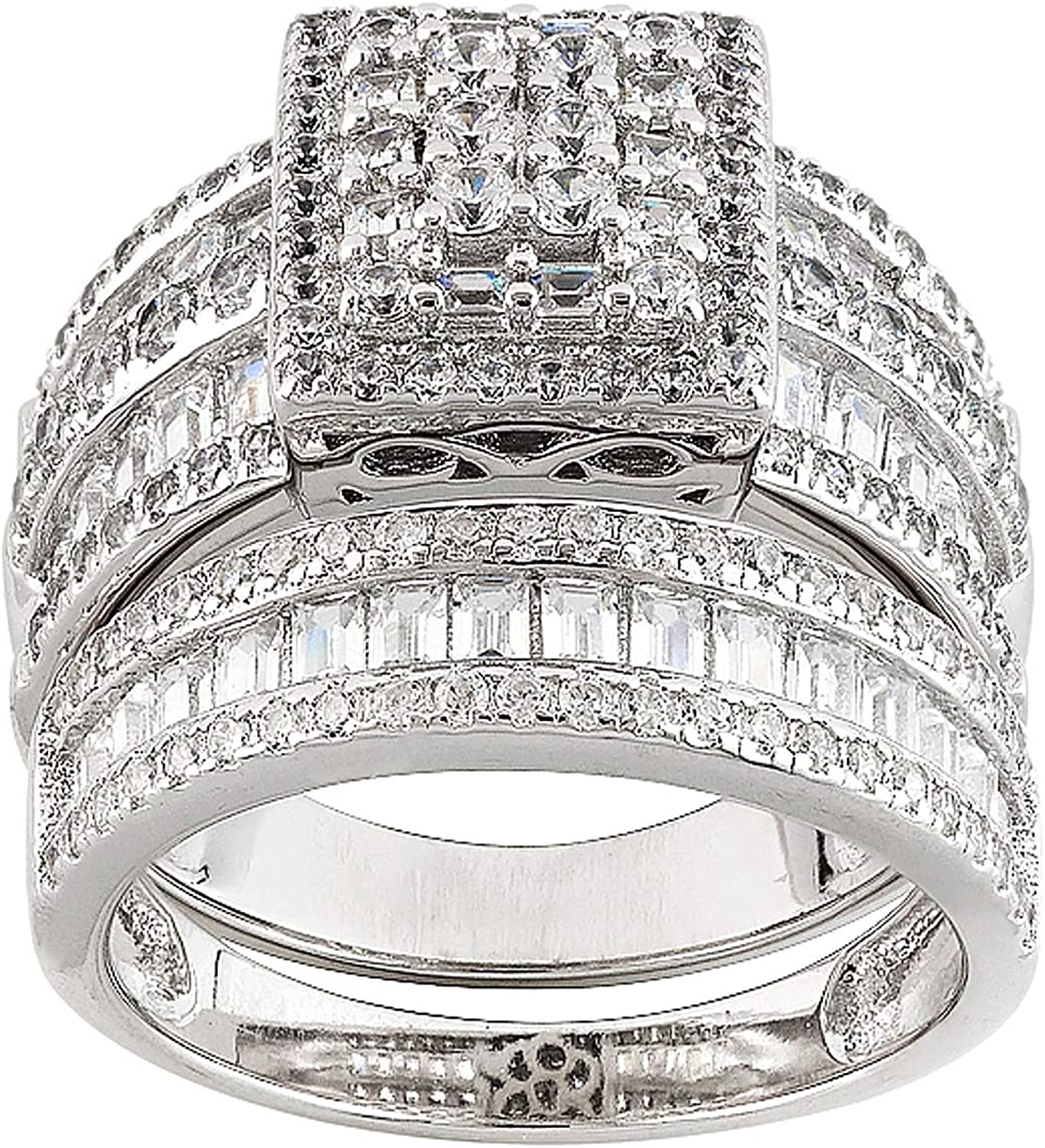 White CZ Open Flower Cluster Bar Leaf Ring .925 Sterling Silver Band Sizes 4-10