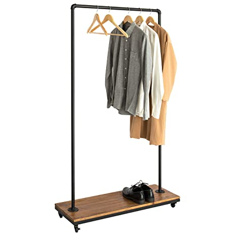 Industrial Black Metal Pipe Rolling Hangrail Clothing Rack w/ Wood Storage Shelf u0026 Locking Caster  sc 1 st  Amazon.com & Amazon.com: Industrial Black Metal Pipe Rolling Hangrail Clothing ...