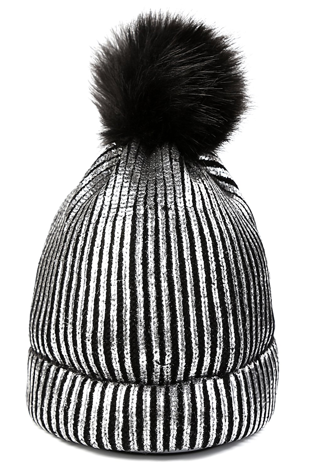 FADA Sliver Beanie Hats Winter Warm Cool Girl Thick Cable Knit Faux Fuzzy Fur Pom Skull Cap