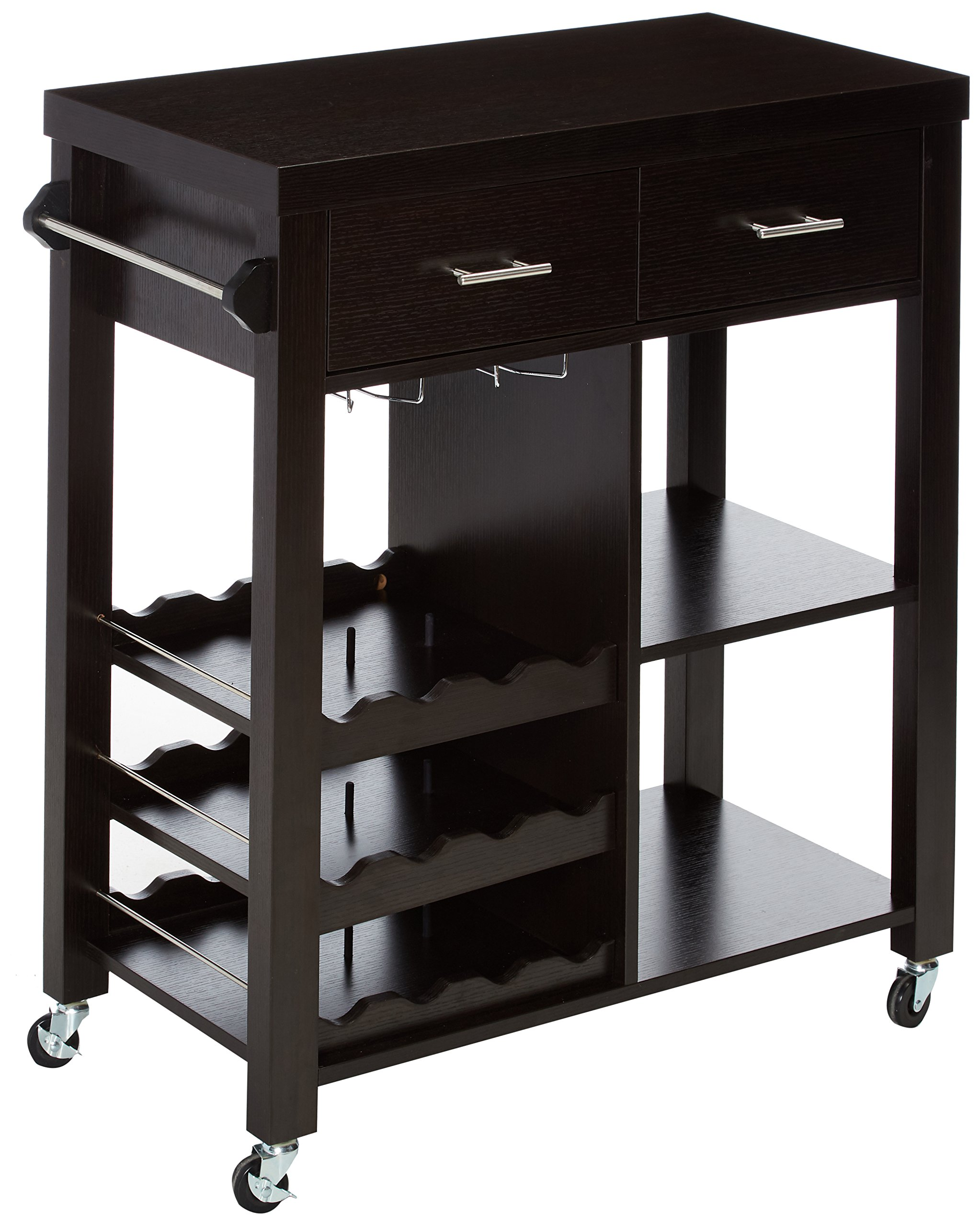 247SHOPATHOME Valentino Kitchen cart, brown by 24/7 Shop at Home