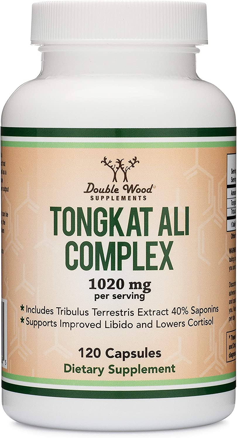 Tongkat Ali Extract 200 to 1 (Longjack) Eurycoma Longifolia, 1000mg per Serving, 120 Capsules - Natural Testosterone Supplement and Libido Booster, with 20mg Tribulus Terrestris by Double Wood: Health & Personal Care