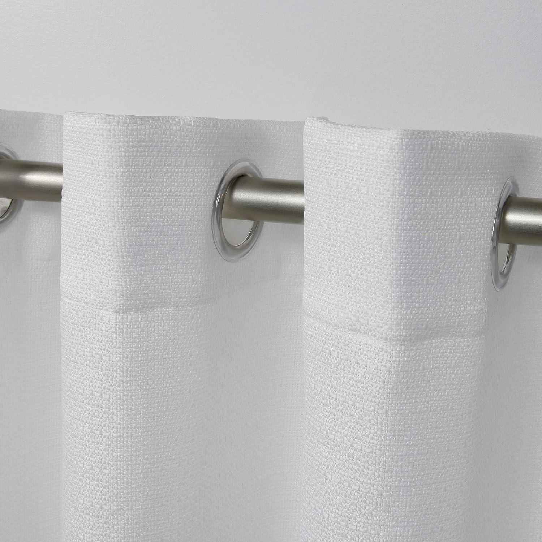 White Exclusive Home Curtains Aztec Grommet Top Panel Pair 2 Piece 54x108
