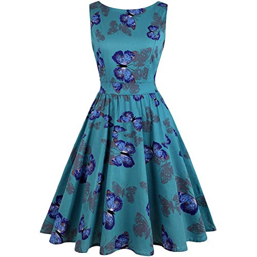OWIN Womens Floral 1950s Vintage Swing Cocktail Party Dress with Butterfly Pattern