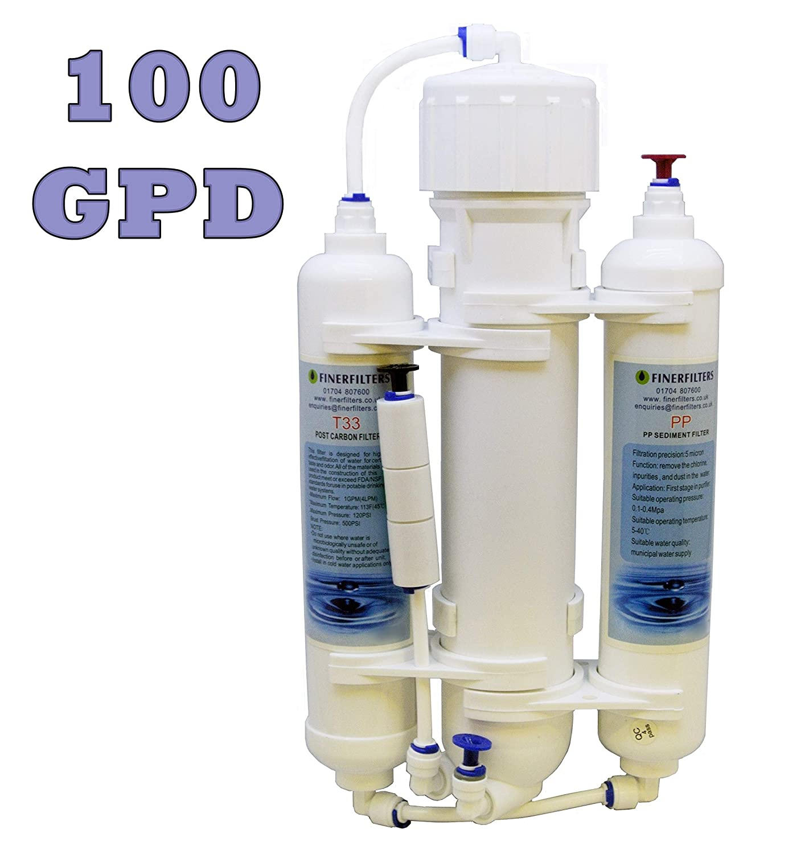 Finerfilters osmosi inversa acquario Compact Water Filter System 3 Stage pesci tropicali, Discus & marine con 100 Gpd membrane