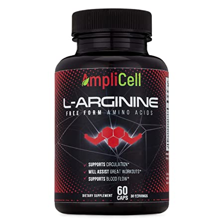 Amplicell Extra Strength L-Arginine Nitric Oxide Supplement Supports Blood Circulation and Heart Health with L Citrulline and Beta Alanine 1200mg 60 Vegetarian Capsules