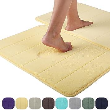 Alfombrilla de baño de espuma viscoelástica, absorbente, antideslizante, de terciopelo suave, para bañera, amarillo claro, Stripe 51x81cm: Amazon.es: Hogar