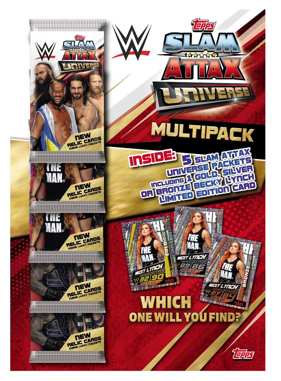 Topps FS0000716-DE Slam Attax WWE Multipack mit 34 Sammelkarten und 1 von 3 limitierten Karte bunt