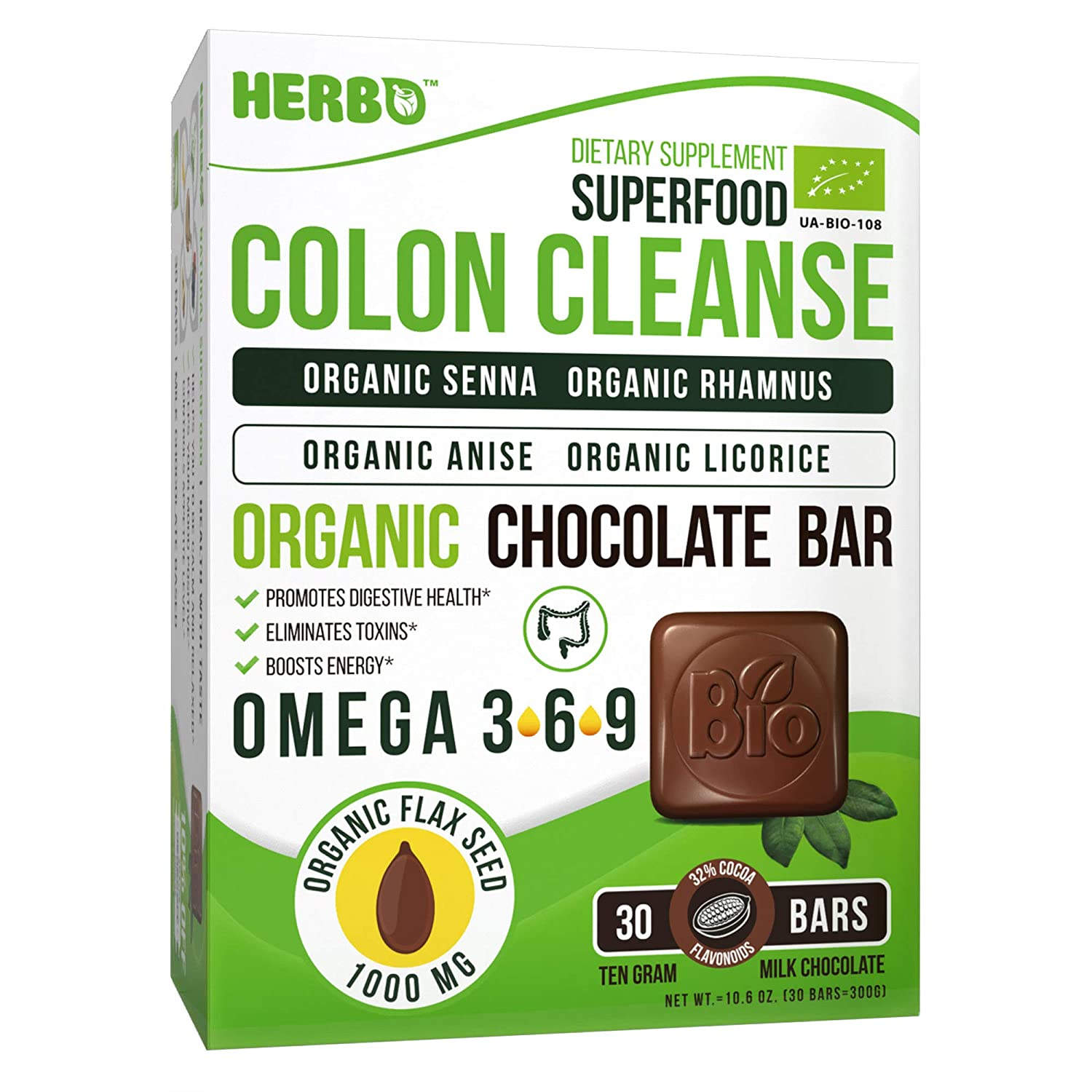 Herbo Superfood Colon Cleanse Organic Blend in Milk Chocolate – Best Healthy Daily Colon Cleanse, Instant and Gentle, Weight Loss – Delicious 30 Bars with Senna, Anise, Rhamnus, Licorice and Omega 3