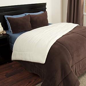 Bedford Home 3 Piece Sherpa/Fleece Comforter Set - King - Chocolate