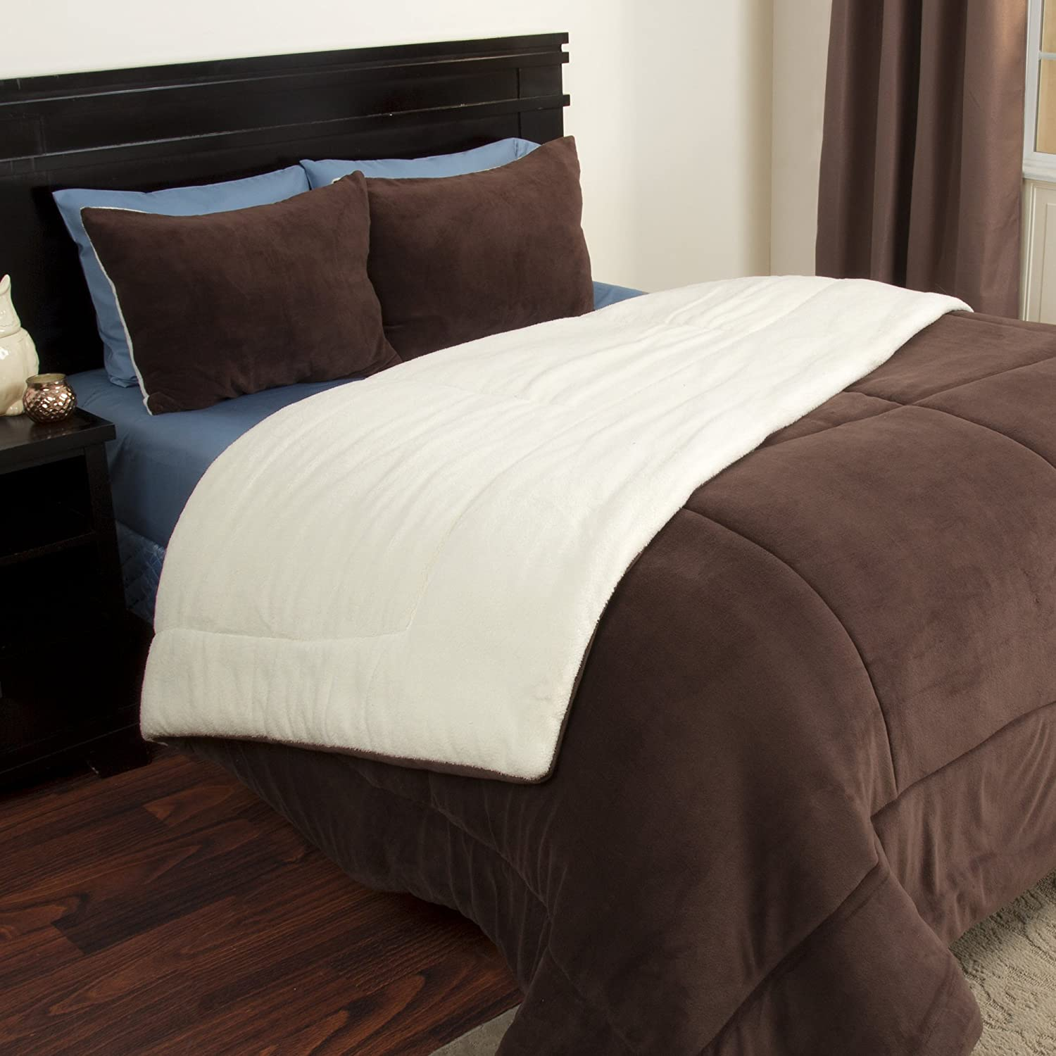 Lavish Home 3 Piece Sherpa/Fleece Comforter Set - King - Chocolate