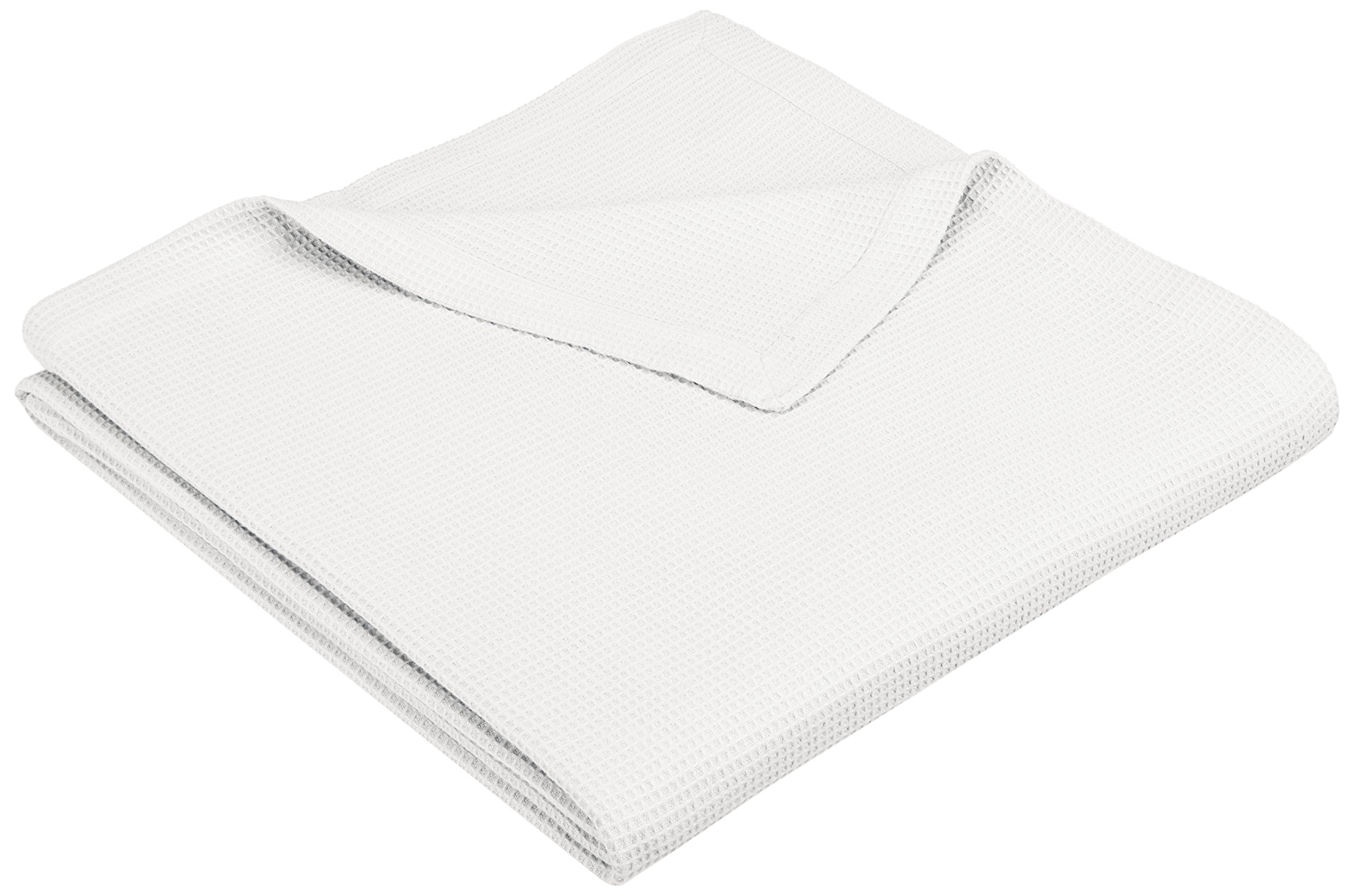 Pinzon Cotton Waffle Weave Blanket - Full/Queen, White - Soft Full/Queen blanket offers an extra layer of warmth Made with brushed cotton for extra softness All-over waffle weave for added dimension and texture - blankets-throws, bedroom-sheets-comforters, bedroom - 81qc0tDLKbL -