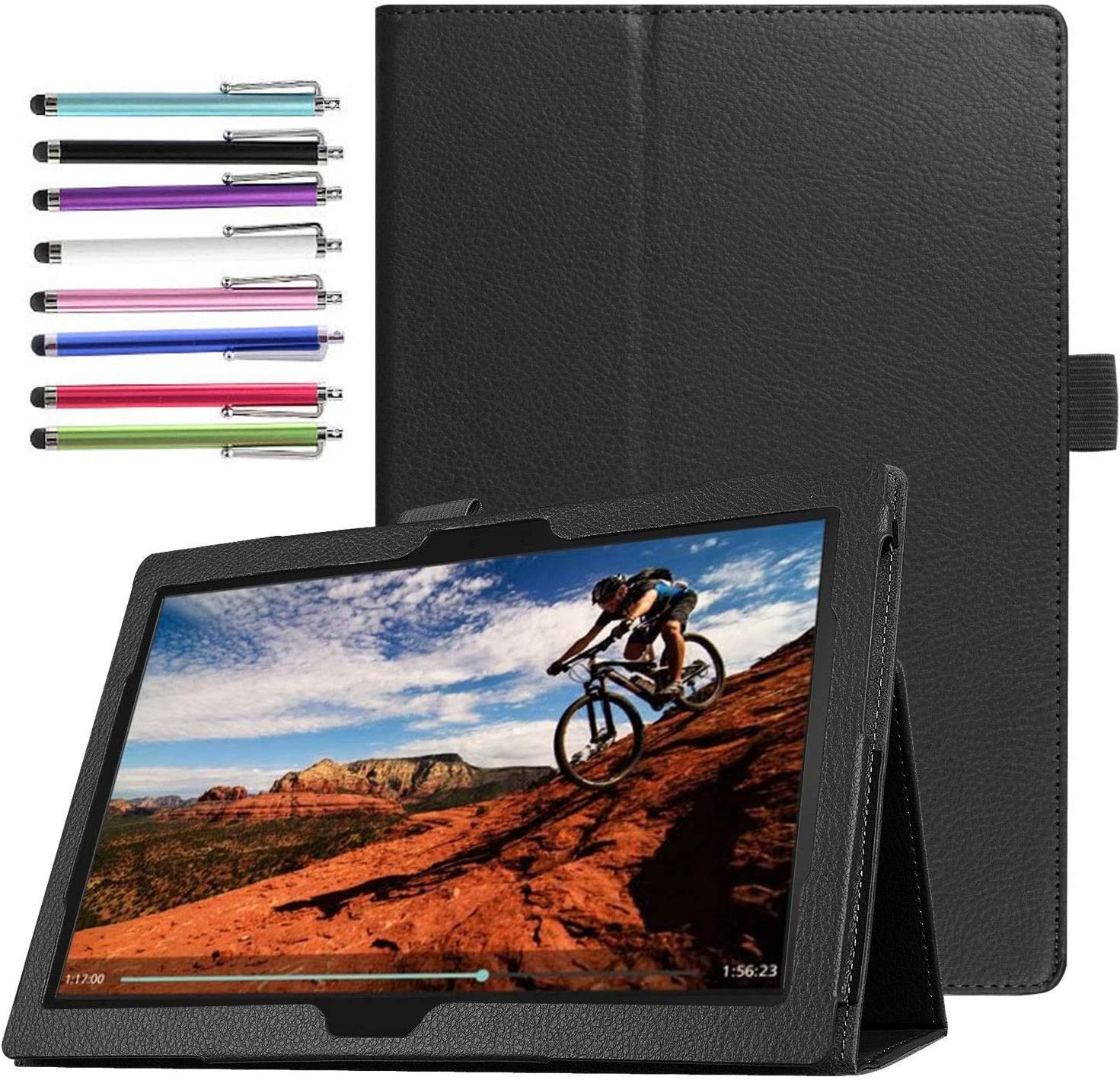 Epicgadget Case for Lenovo Smart Tab M10 TB-X505F/TB-X605F Slim Lightweight Folio PU Leather Folding Stand Cover Case for Lenovo Table M10 10.1 Inch Display 2019/2018 Released (Black)