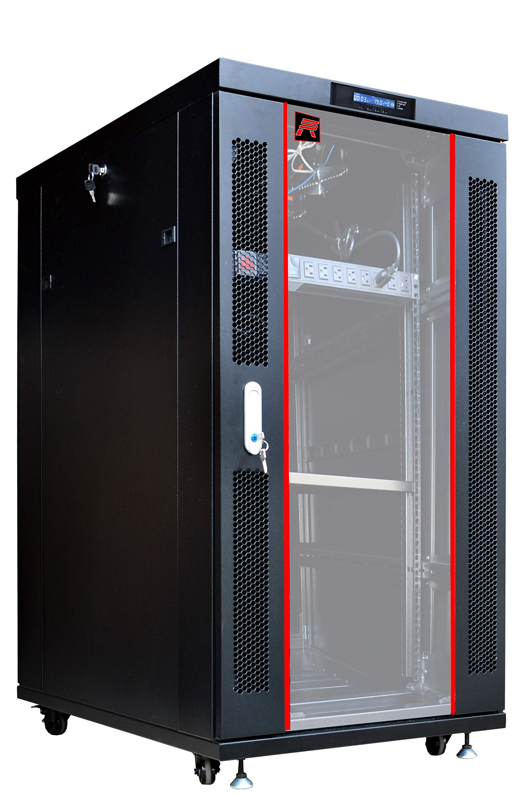 22U 32'' Deep IT Free Standing Server Rack Cabinet Enclosure. Temperature Control System, Casters, LCD-Screen, PDU and Other Accessories Included - Over $ 150 Savings