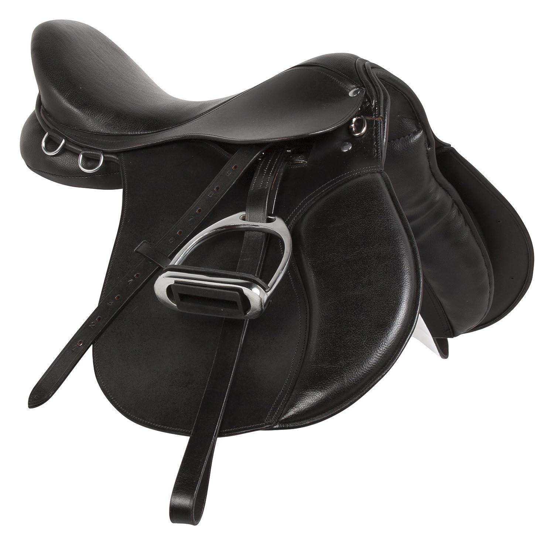 新しい15 16 17 18プレミアムブラックレザーShow Jumping Eventing英語Riding HorseサドルTack Stirrups Leathersすべて目的 15  B06XD8Z2RK