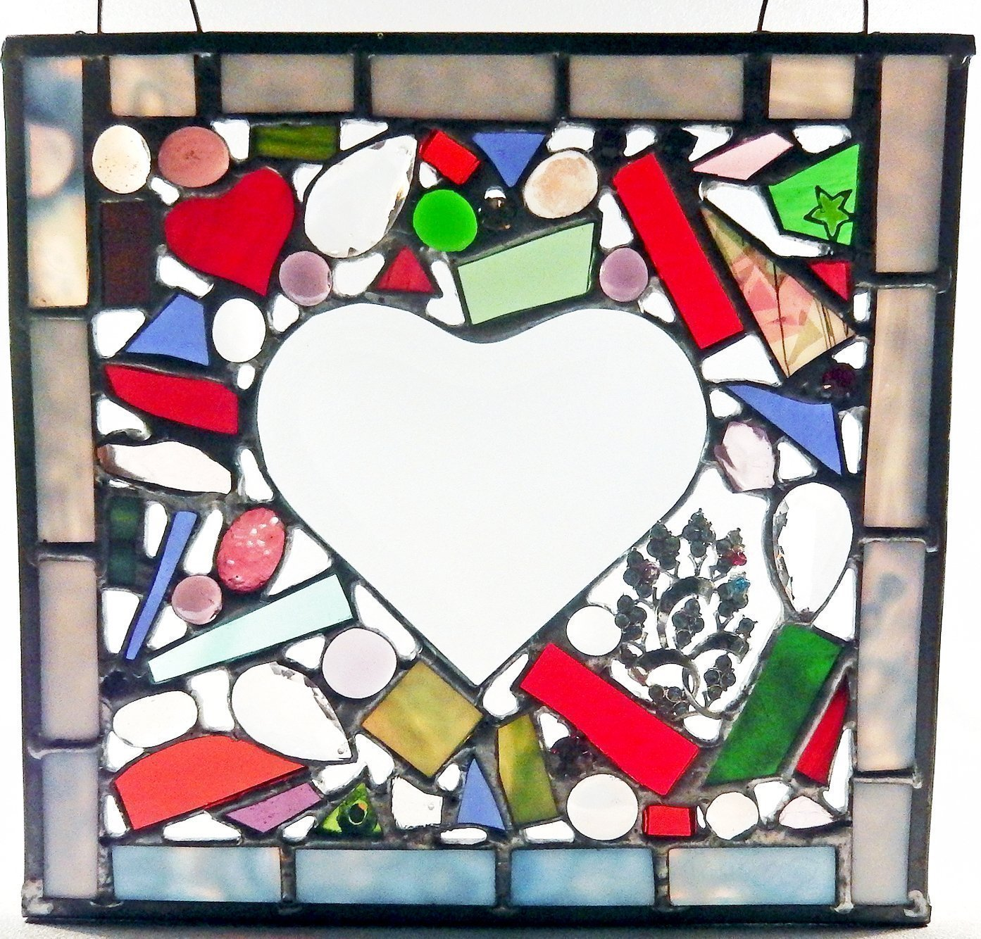 Heart Panel, Beveled Glass, Stained Glass, Beveled Heart, Beveled Glass, Red, Pink. Purple, Green, Wedding Gift, Bridal Shower
