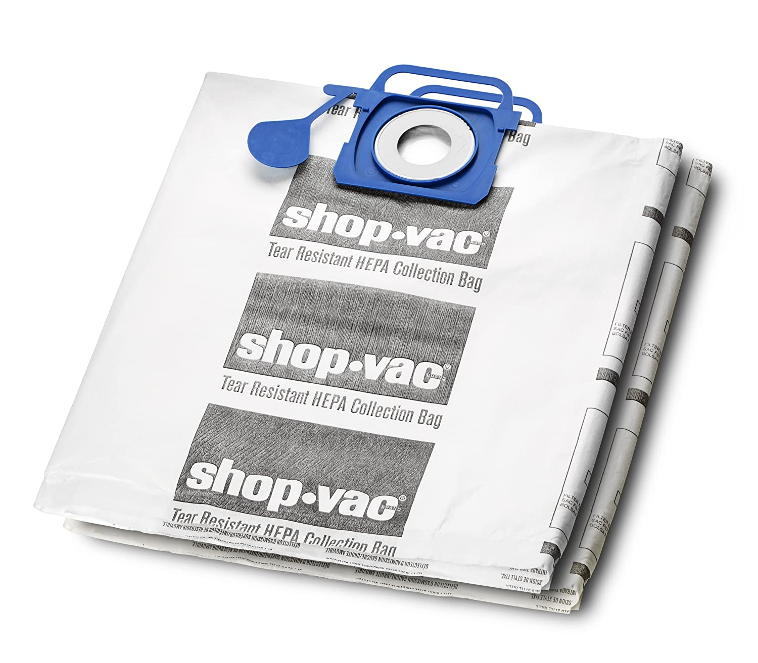 Shop-Vac 9021733 Genuine Hepa Tear Resistant Collection Filter Bags, 5-10 gallon, White (2 Pack)