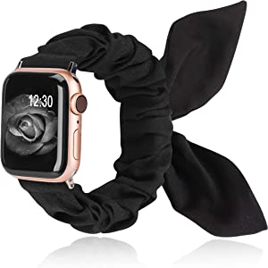TOYOUTHS Compatible with Apple Watch Band Scrunchies 42/44mm with Butterfly Bow/Bunny Ears Cloth Fabric Elastic Scrunchy Wristband Bracelet Rose Gold Women Girl iWatch Series SE 6 5 4 3 2 1