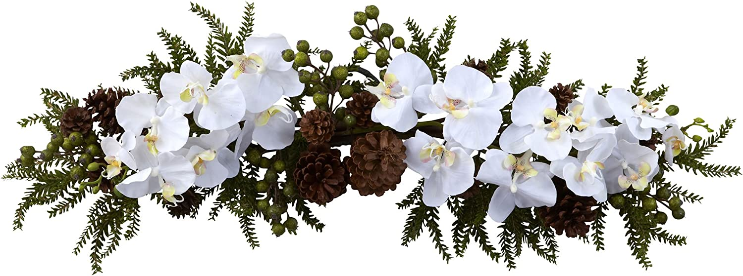 """Nearly Natural 4946 Phalaenopsis Orchid and Pine Swag, 30-Inch, Green/White,27.5"""" x 7"""" x 4.5"""""""