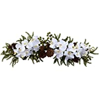 Nearly Natural 4946 Phalaenopsis Orchid and Pine Swag, 30-Inch, Green/White,27.5″ x 7″ x 4.5