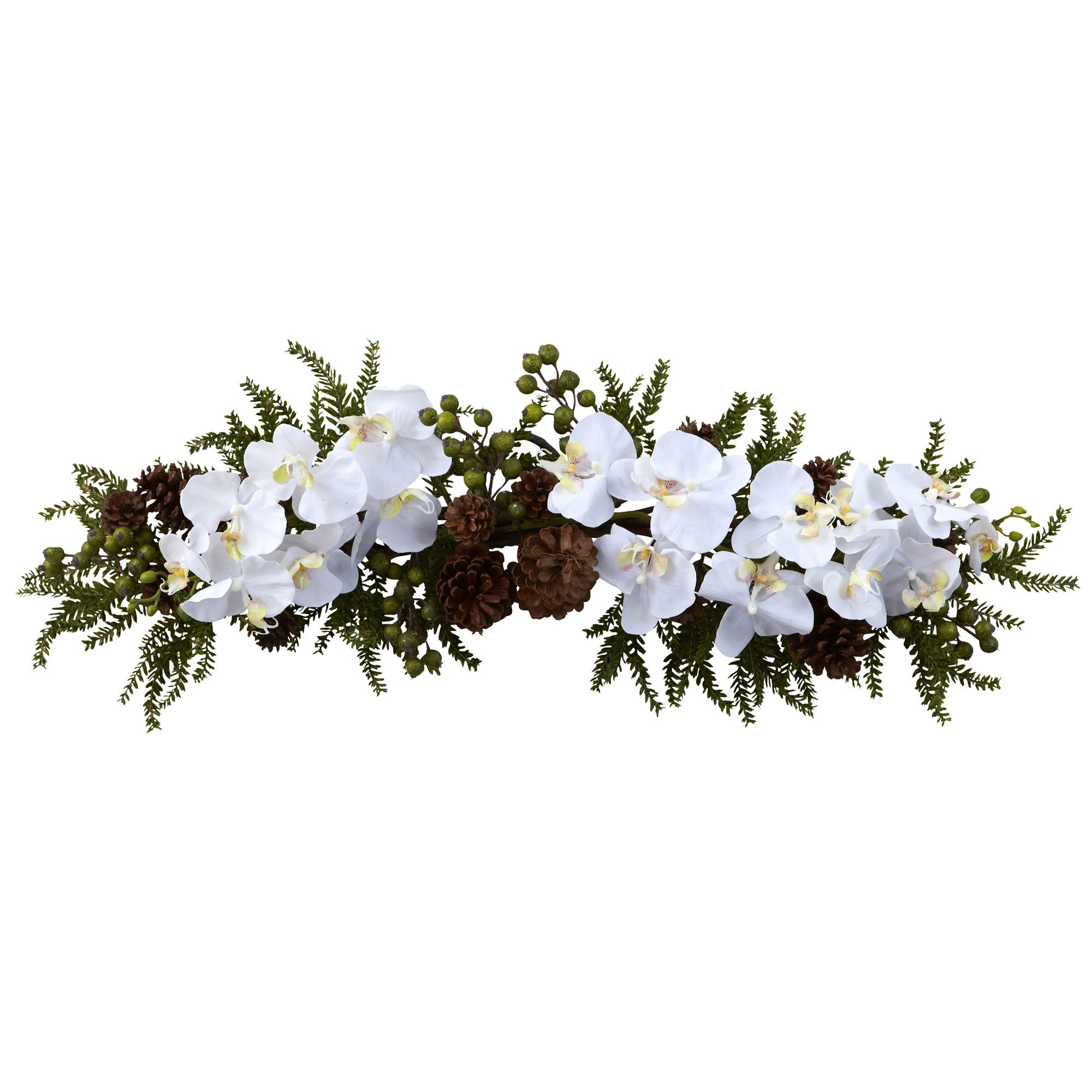Nearly Natural 4946 Phalaenopsis Orchid and Pine Swag, 30-Inch, Green/White