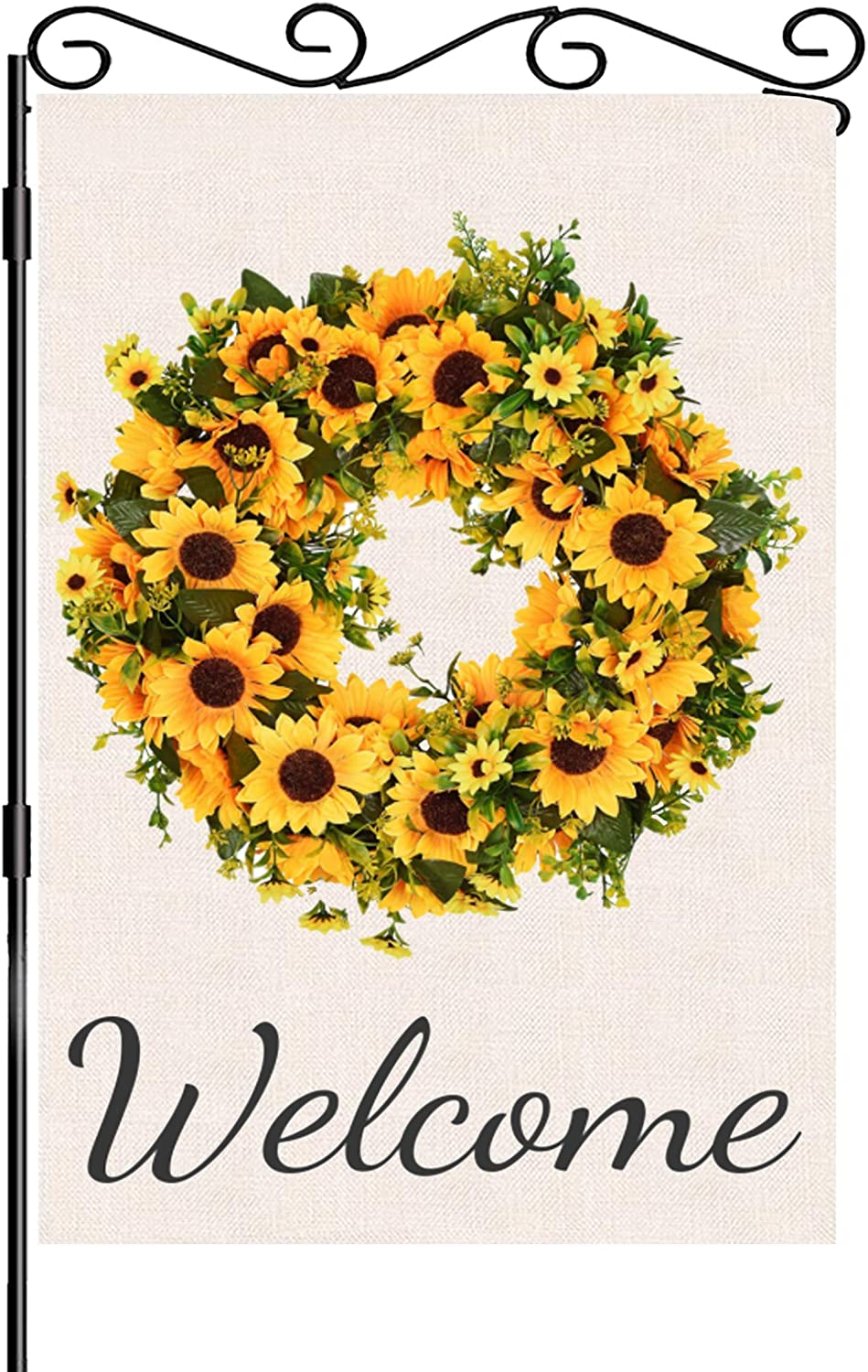 NICEN Sunflower Wreath Garden Flag Welcome Wreath Garden Flag Double Sided Small Flag for Yard House Decor Seasonal Burlap Flag for Spring Summer Fall Winter, 12.5x18 Inch