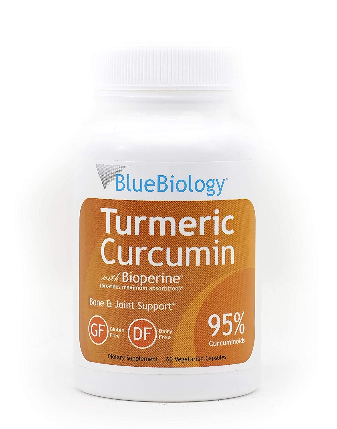 BlueBiology Turmeric Curcumin with Bioperine Extract Enhanced Absorption – 95 Curcuminoids – Highest Potency – Gluten Free – Vegan Joint Pain Relief – 60 Capsules