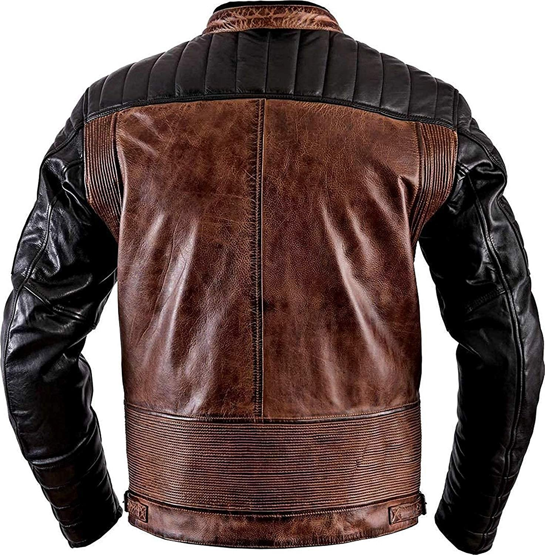 PriceRight Exquisite Antique Retro Vintage Cafe Racer Distressed Biker Striped Brando Leather Motorcycle Jacket Cafe Racer Black & Brown