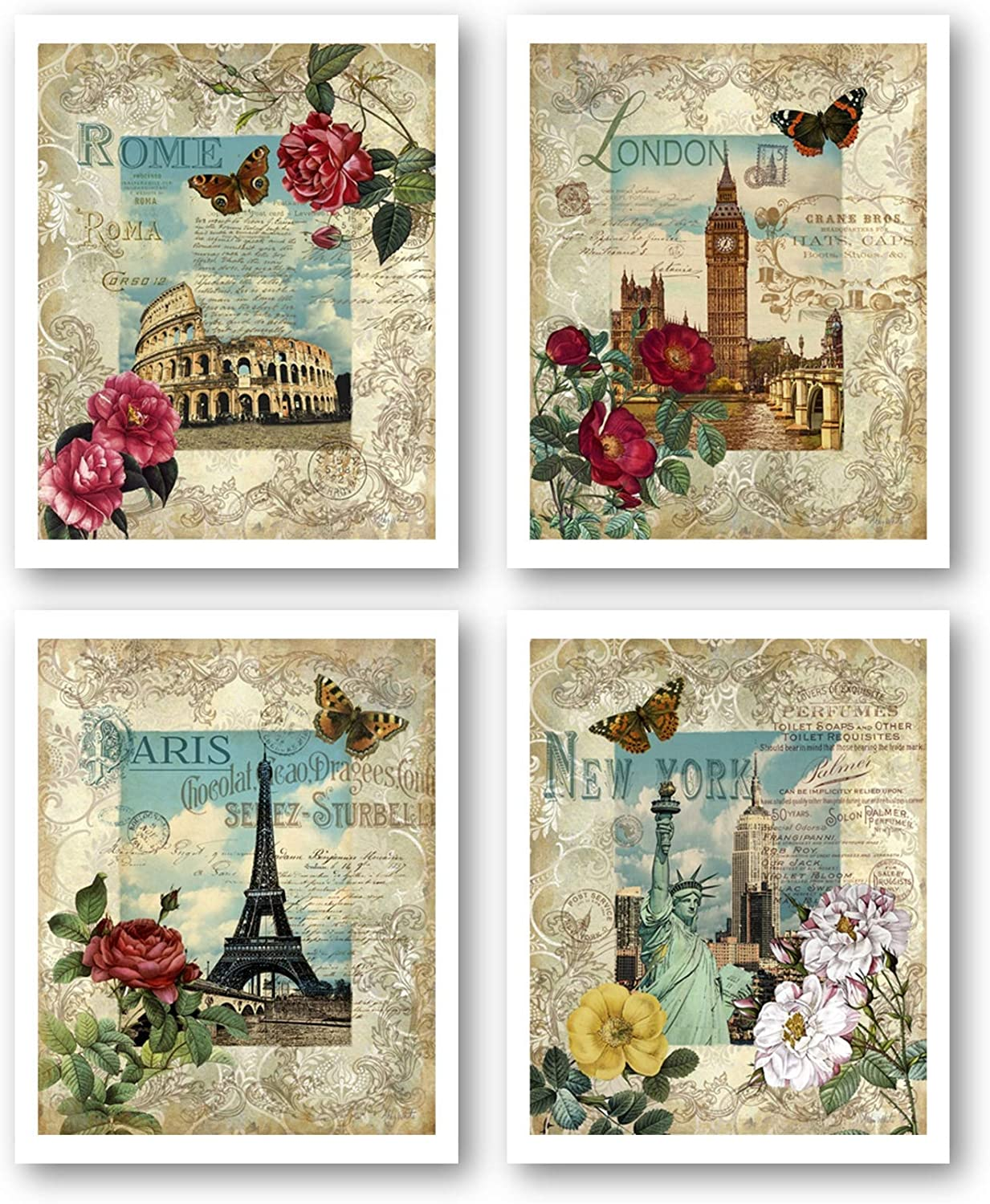 London, New York, Rome, Paris Vintage Wall Decor Artwork - Set of 4 8 x 10 Unframed Prints - Great Gift for Housewarming, Home Office and Bedroom Art - Perfect for World Travelers