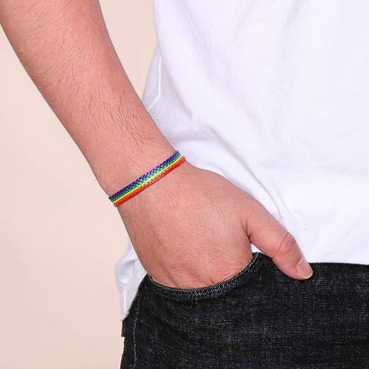 Rainbow Flag Bracelet Rainbow POC Pride Bracelet Lesbian Pride Bracelet Lipstick Lesbian LGTBQ Pride Flag Bracelet Twink Pride Bracelet