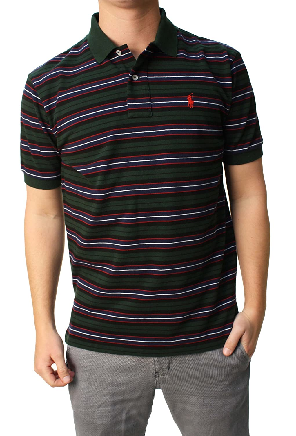 RALPH LAUREN Polo Mens Classic Fit Mesh Short Sleeve Shirt Green Navy Black  Red at Amazon Men s Clothing store  85b89961e