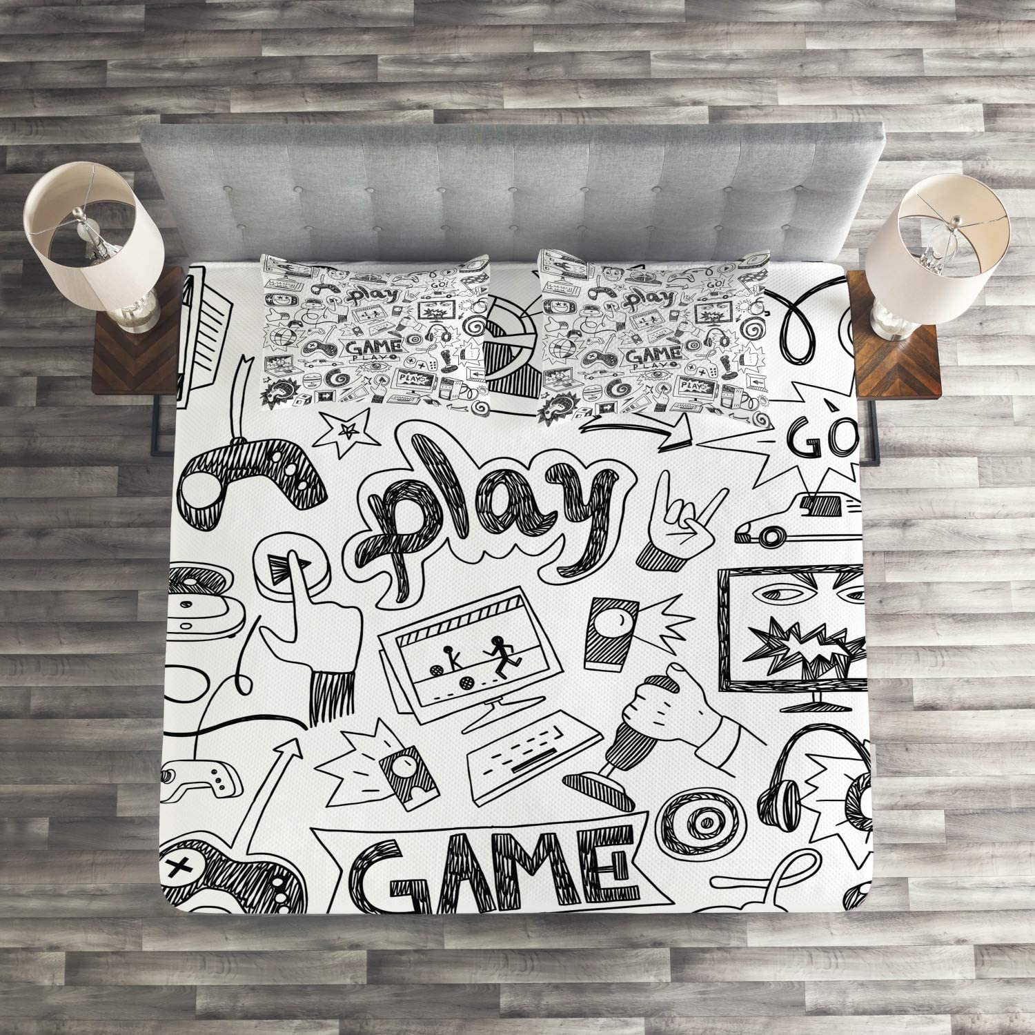 Monochrome Sketch Style Gaming Design Racing Monitor Device Gadget Teen 90s Twin Size Ambesonne Video Games Flat Sheet Black White Soft Comfortable Top Sheet Decorative Bedding 1 Piece