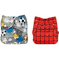 Babymoon (Set of 2) Cloth Diaper Designer Premium Reusable, Adjustable Size, Waterproof, Washable, Pocket Cloth Diaper Nappie (Spider Red & Football Grey)