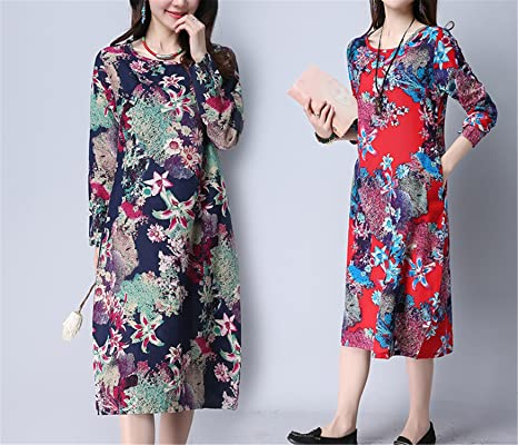 Amazon.com: WalterTi Fashion cotton linen vintage print women casual loose autumn dress vestidos femininos party dresses: Clothing