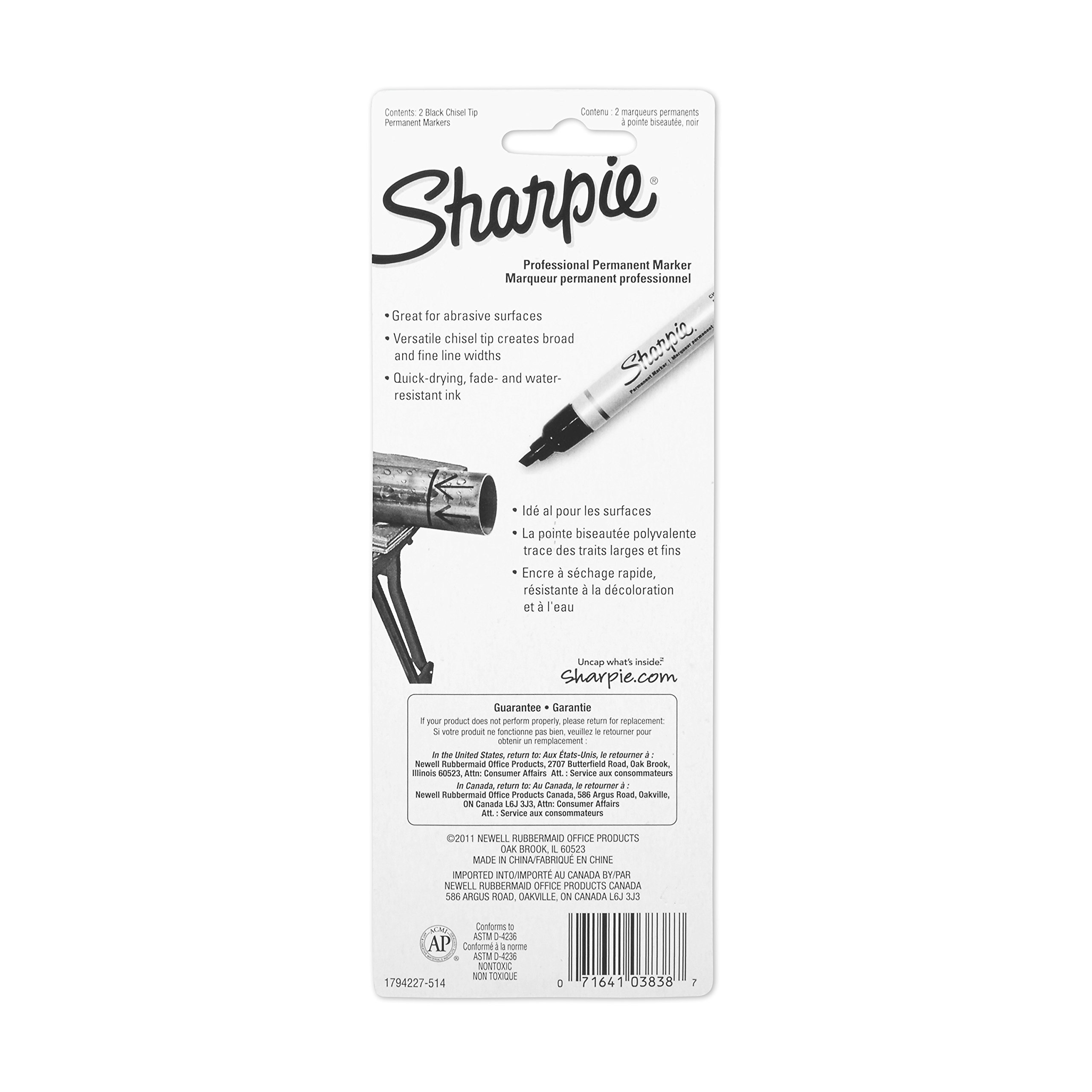 Sharpie Pro Chisel Tip Industrial Strength Permanent Marker, 2 Black Markers by Sharpie (Image #4)