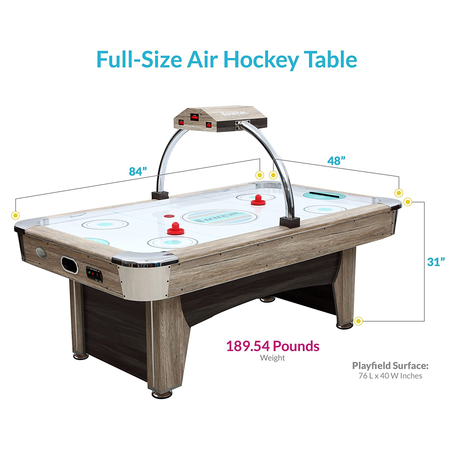 Amazon.com : Harvil Beachcomber 7 Foot Air Hockey Table With Overhead  Scorer, Leg Levelers, And 4 Pucks And 2 Pushers : Sports U0026 Outdoors