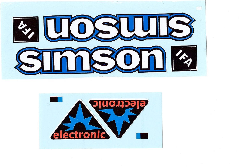 Aufkleber-Set f/ür Simson S50 Electronic B/üffeltank und Seitendeckel wei/ß blau