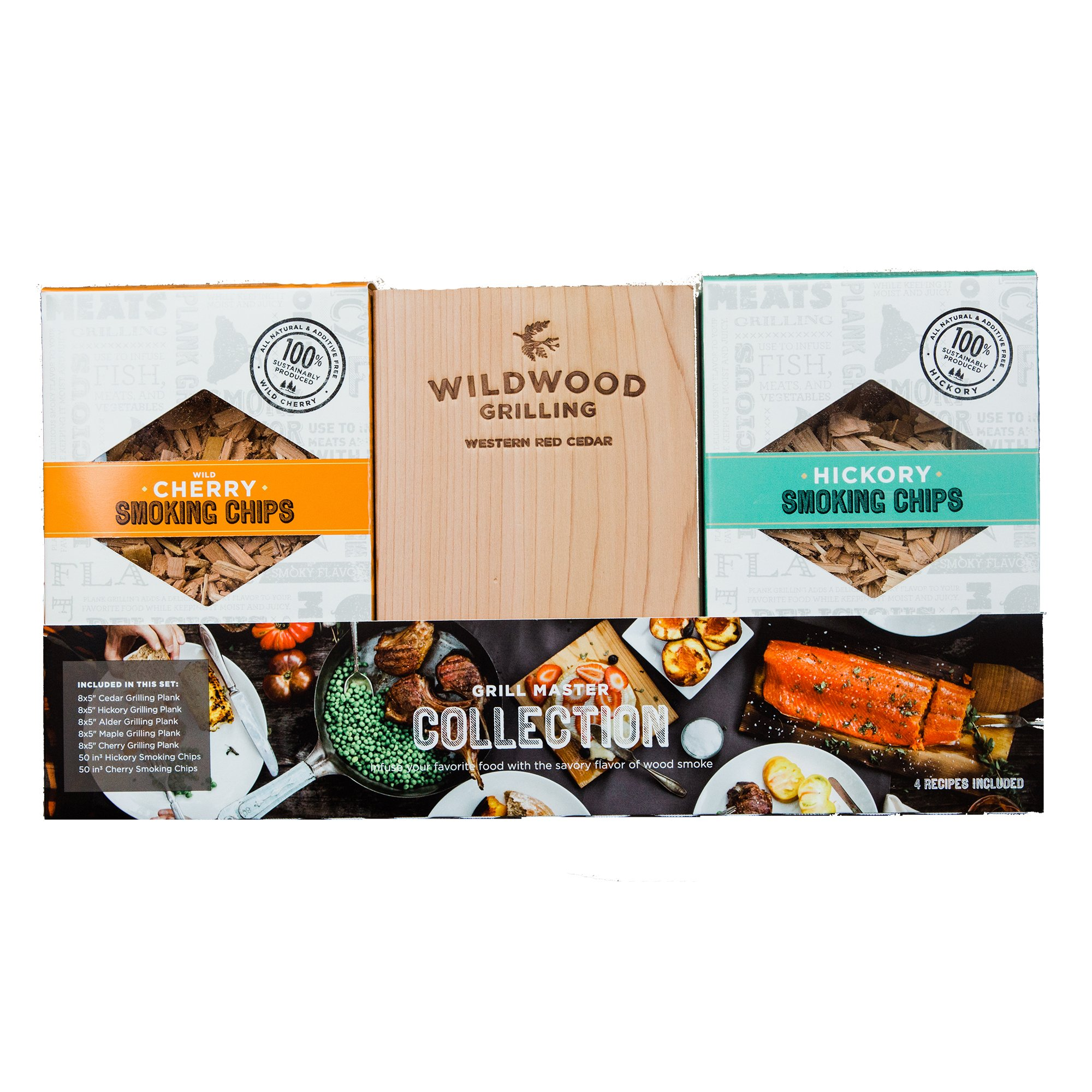 Grilling Gift Set - Grilling Planks Sampler (Cedar, Alder, Cherry, Hickory, Maple) + Hickory & Cherry Smoking Chips by Wildwood Grilling