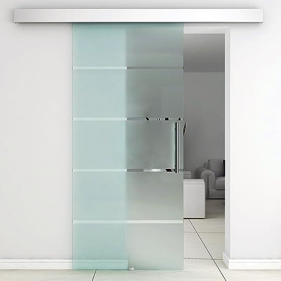 Homcom - Puerta corredera de cristal a rayas con riel de aluminio ...