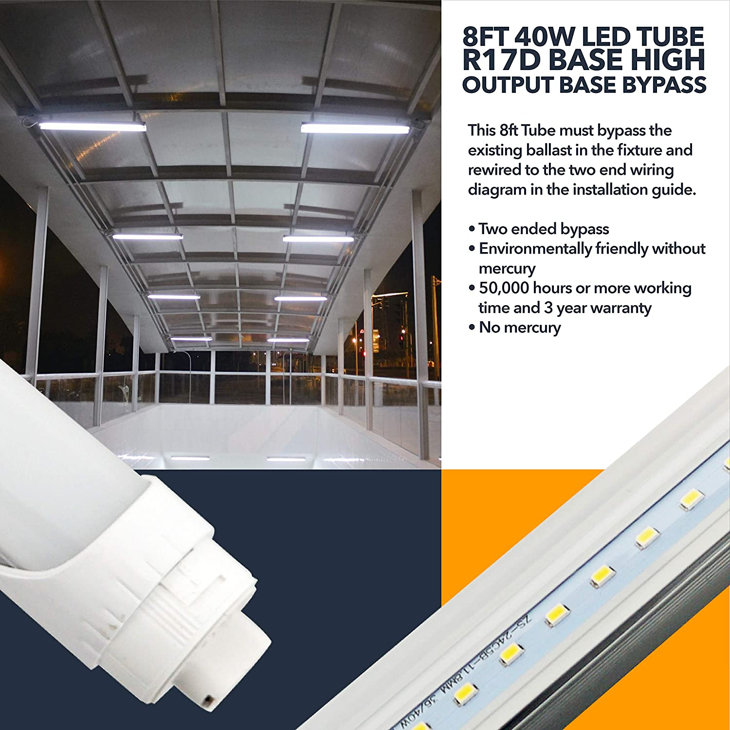 8ft Led Tube Light R17d Base High Output Warehouse Two Fixture Wiring Diagram Ended Bypass 4400 Lumens Residential Or Commercial Garage Workshop