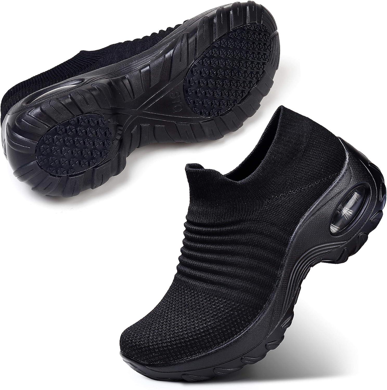 | STQ Slip On Breathe Mesh Walking Shoes Women Fashion Sneakers Comfort Wedge Platform Loafers | Walking