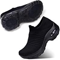 حذاء مشي من اس تي كيو سهل الارتداء وبشبكة جيدة التهوية، حذاء رياضي انيق للسيدات مريح بنعل سميك وبدون كعب