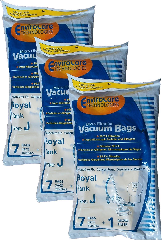 21 Royal Tank Type J Allergy Vacuum Bags + 3 Filters, Dirt Devil, Metal Tanks, Pony Tank Vacuum Cleaners, 3-040447-001, 401, 666, 501, 4150, 4250,4100-4600