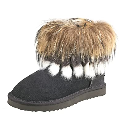 132c4d4053202 Amazon.com   AUSLAND Women's Warm Short Fur Trimmed Boot 99258 Grey ...
